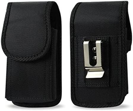 Golden Sheeps Compatible for iPhone 12 Mini SE / 5 / 5S / 5C XXL Size Vertical Nylon Case Pouch Holster with Belt Clip (Fits iPhone SE / 5 / 5S / 5C with Large Thick/Battery/Heavy Duty Case On)