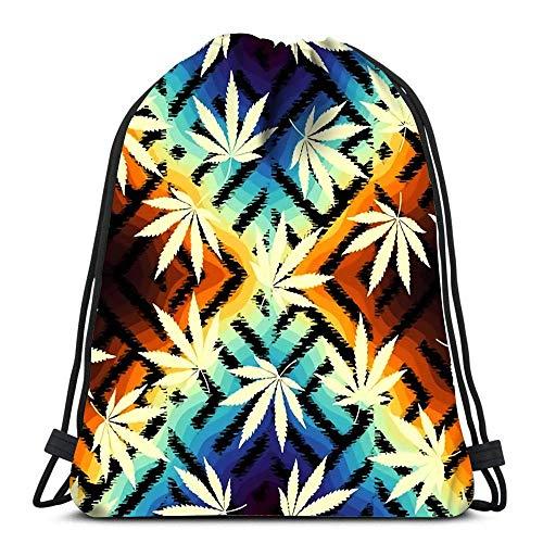 Unisex Drawstring Bags,Rastafarian Grunge Hemp Leaves Sport Gym Bag Casual Sackpack Backpack Men & Women Drawstring Backpack For Traveling School Climbing