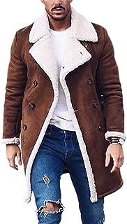 Men's Suede Lined Windbreaker Double-Breasted Windproof Winter Jackets