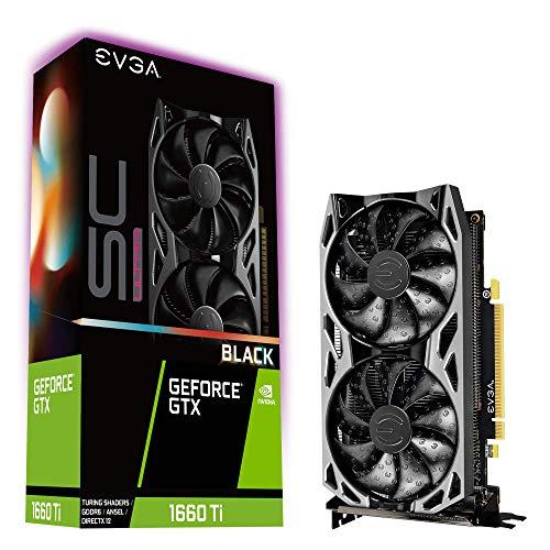 EVGA GeForce GTX 1660 Ti SC Ultra Black Gaming, 6GB GDDR6, Dual Fan, Metal Backplate, 06G-P4-1665-KR