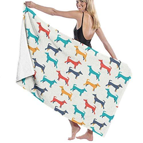 Toalla Shower Towels Beach Towels Ilustración colorida contemporánea de perro Toalla De Baño 80X130CM