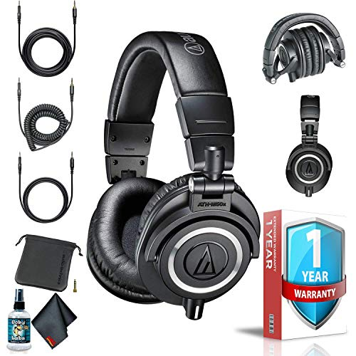Audio-Technica ATH-M50x Professional Studio Monitor Headphones (Black) with Carrying Case, 6Ave Cleaning Kit