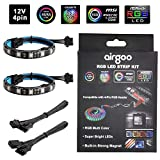 PC RGB LED Strip Light, 2pcs Magnetic LED Strip for M/B with 12V 4-Pin RGB LED headers, Compatible with ASUS Aura, MSI Mystic Light, ASROCK Aura RGB Led, Gigabyte RGB Funsion, with Back Self-Adhesive