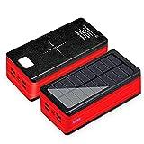 YLDXP Cargador Solar Power Bank, Cargador de energía inalámbrico, Salidas 5V/2.1A y 2W Panel Solar Cargador de teléfono portátil Linternas LED Paquete de batería Externa para teléfonos inteligen