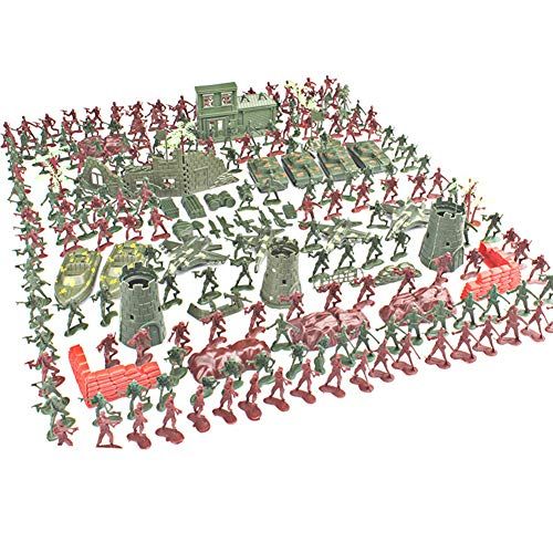COOC Parent-Child Interaction Military Soldier Playset, 290 Items Military Playset, with Tanks, Turrets, Fighters, And Other Accessories, Hristmas Gift Toys for Children