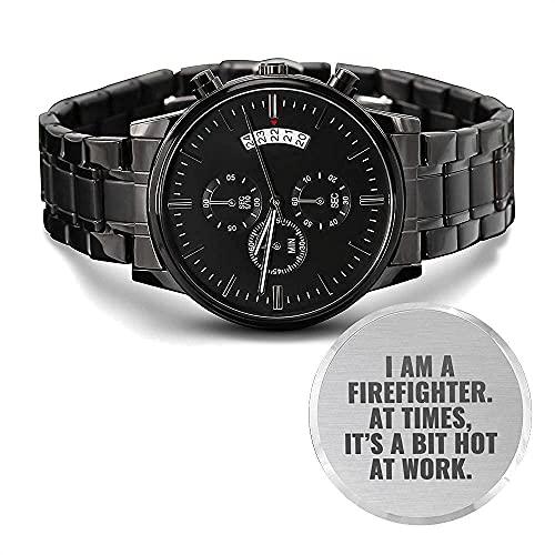 Reloj cronógrafo negro con diseño grabado de bombero
