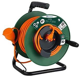 Electraline 49236 Alargador de jardín con enrollacables 30 Mt, enchufe y toma Europea 2 polos, apto para Electrodomésticos de jardinería, con protección y Platin Fix, sección Cable 2x1,5 mm2