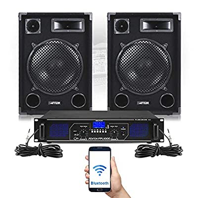 """SP 12"""" Bluetooth PA Speakers and Amplifier FPL1000 MP3 Mobile DJ Party System"""