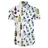 Youthup - Camicia da uomo 3D a maniche corte estiva floreale hawaiana con bottoni, stile casual da spiaggia Borraccia. XS
