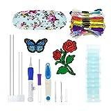 L.J.JZDY Punto de Cruz Tema La luz Azul Bordado de la Pluma del sacador Needles Set 50Pcs Tijeras Hilo de la Aguja de Coser Dibujos de Flores Kit de Herramientas de Bricolaje
