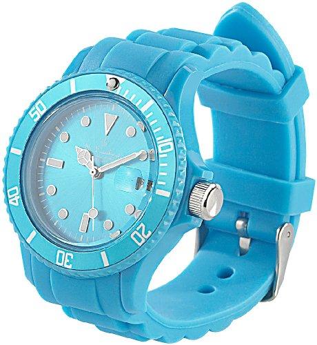 St. Leonhard Armbanduhren Damen: Sportliche Silikon-Quarz-Armbanduhr, Lupen-Mineralglas, himmelblau (Armband-Uhr)