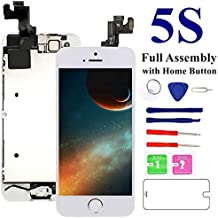 Mafix for iPhone 5S/SE Screen Replacement-White, with Home Button, Front Camera, Earspeaker Full Assembly LCD Display Digitizer Touch Screen Repair Kits for A1533, A1453