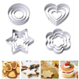 anjias Cookie Cutter,12 Pieces Stainless Steel Cookie Biscuit Cutters Hearts Flowers Stars Round Shaped Cutter for Cookies Icing Sugarcraft Cake