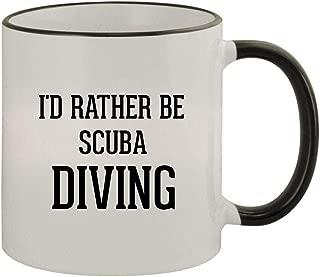 I'd Rather Be SCUBA DIVING - 11oz Ceramic Colored Rim & Handle Coffee Mug, Black
