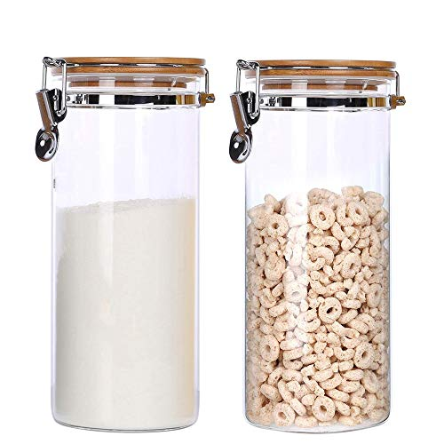 KKC Vorratsdosen Glas Luftdicht,Müsli Aufbewahrung Glas,Lebensmittel Aufbewahrung Glas für Mehl,Kaffeebohnen,Nüsse,Müsli Glasbehälter,Glasdose mit Deckel Set 1500 ML,2 teilig