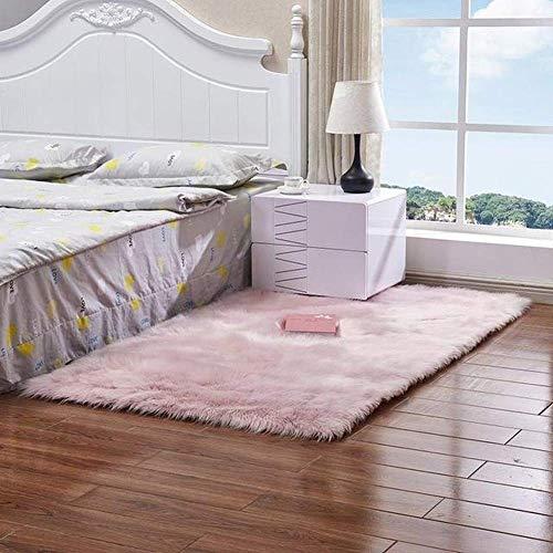 YIWOYI Alfombra de piel de oveja artificial para sala de estar, dormitorio, alfombra de piel lisa, mullida, lavable, alfombra sintética (rosa, 60 x 180 cm)