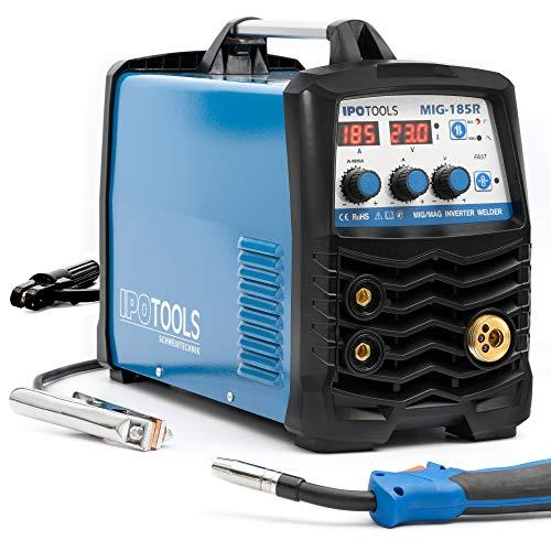 MIG-185R - Soldador inverter MIG MAG – Dispositivo de soldadura de gas de protección con 185 amperios, alambre de relleno y electrodos adecuado con/MMA E-mano/pantalla digital/IGBT / 230 V