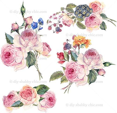 Möbel-Holz-Aufkleber, Bild Transfer Vintage Antik Etiketten Blumen Cluster DIY