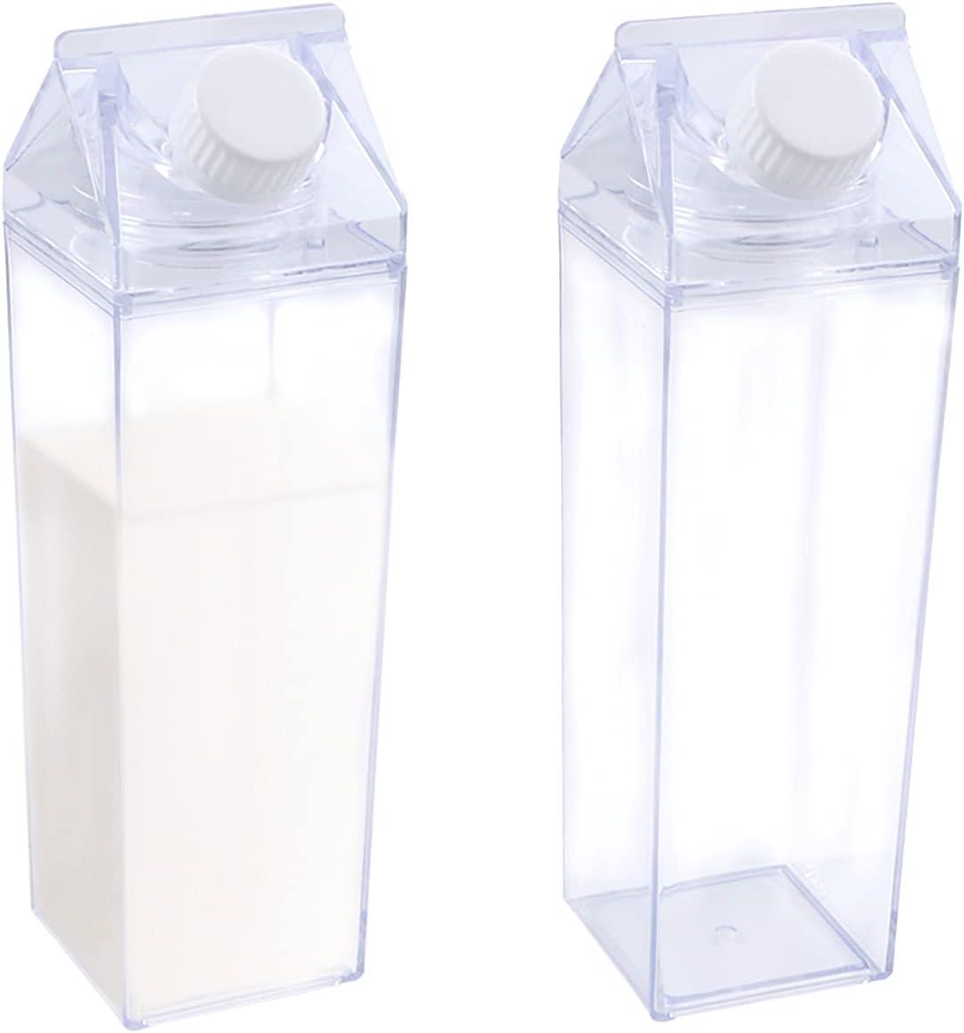 Jodsen Botella de Agua de cartón de Leche,Paquete de 2 Botellas de Agua de Recarga de Jugo cuadradas Transparentes,Recipiente Lindo Reutilizable de 500 ml para Actividades de Viaje