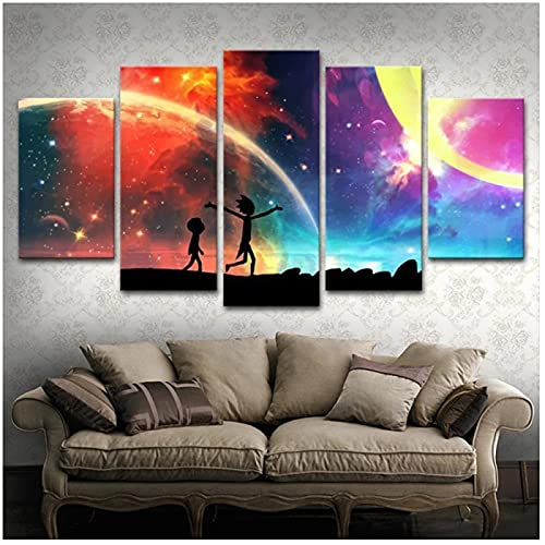 5 paneles Anime hermoso cielo estrellado pintura póster decoración del hogar sala de estar lienzo arte de pared Modular HD imprimir imágenes