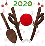 Minetom Car Reindeer Antlers Christmas Reindeer Vehicle Christmas Decorations Auto Decoration Kit with Tail and Jingle Bells Reindeer for Car Christmas