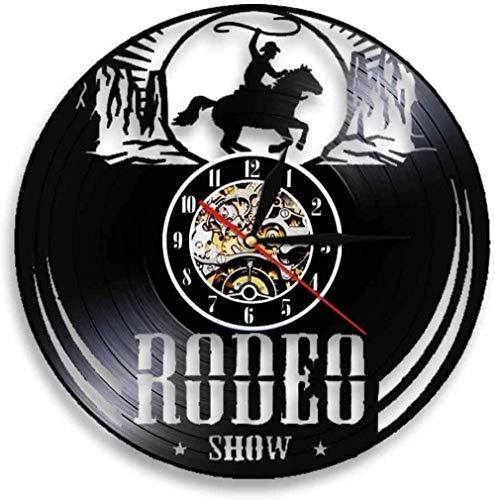 OLB&VNM Disco de Vinilo Reloj de Pared Freedom Rider Rodeo Guy Wall Wild Rodeo Life Cowboy Vintage Western Equestrian Riding Clock-Sin_Led