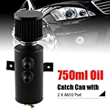 RYANSTAR Baffled Oil Catch Can Oil Breather Tank with Drain Valve 2 Ports 10AN 750ml Black
