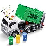 JOYIN 32CM Camión de Basura Coches de Friccion con Luces y Sonidos con 3 Bote de Basura Vehiculos Juguete Regalos para Niños Infantil