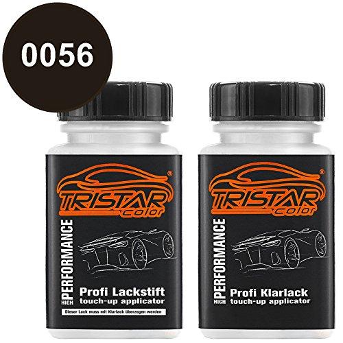 TRISTARcolor Autolack Lackstift Set für Mercedes/Daimler Benz 0056 Magno Nachtschwarz Metallic Basislack Klarlack je 50ml