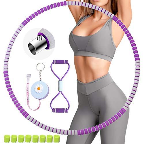BOZHZO Hula Hoop Reifen Erwachsene, Hula Hoop Fitness Reifen zur Gewichtsreduktion, Einstellbares1,2 bis 3,5kg mit Mini Bandmaß und Multifunktions-Spannseil für Fitness Sport und Bauchformung