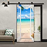 MISSSIXTY 3D Door Wall Mural Wallpaper Stickers Vinyl Removable Decals for Home Decoration 30.3' x 78.7' (Dreams Beach)