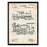 Nacnic Poster con Patente de Locomotora. Lámina con diseño de Patente Antigua en tamaño A3 y con Fon...