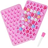 2 Pcs Silicone Mini Heart Moulds for Wax Melts +Dropper 55 Hearts Non-Stick Chocolate Candy Ice Jelly Sweets Molds for Making Sweets Cake Cupcake Gumdrop Jelly Handmade Soap Valentine's Day DIY Gift
