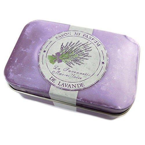 Les Trésors De Lily [N6549] - Boite métal 'Savon de Lavande' violet