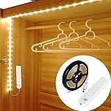 OriFiil 3m Tira LED Luces, Recargable Luz de Armario con Sensor de Movimiento, Luz Nocturna Regulable, Auto on/off para dormitorio, baño, cocina, pasillo, escaleras, despensa