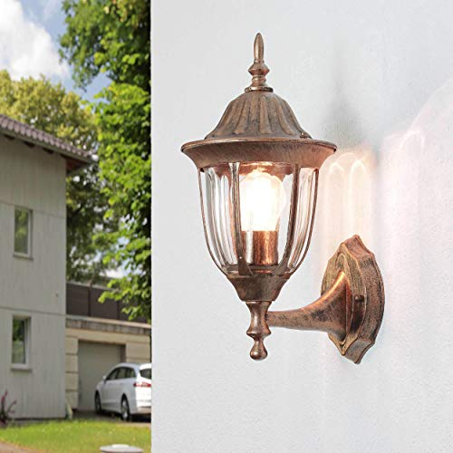 Rustikale Außenwandleuchte Kupfer Antik E27 wetterfest H:35cm Gartenbeleuchtung Balkon Haustür Hof