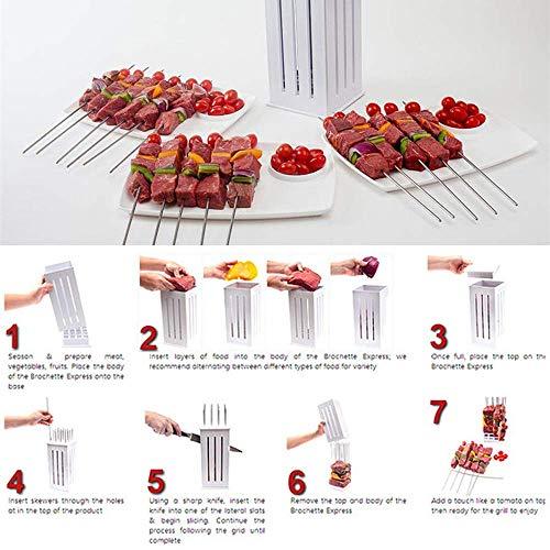 51xNnK65xrL - Wghz Grillspieße Kebab Maker, 16-Loch-Brochettenschneider, Grillgabeln Grillzubehör, Fleischbroschetten-Spießmaschine, mit einigen Stöcken