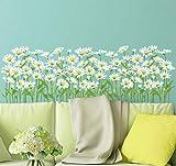 Etiqueta de la pared de la margarita Pegatinas del zócalo de la hierba Calcomanías murales de flores de hierba para la habitación de los niños Decoración del dormitorio del bebé 80X26cm