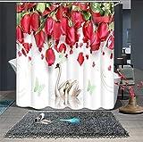 JZDH Duschvorhang für Badezimmer Rote Rose Schwan Muster Duschvorhang, 3D-Digitaldruck-Wasserdichten Duschvorhang Mit 12 Haken