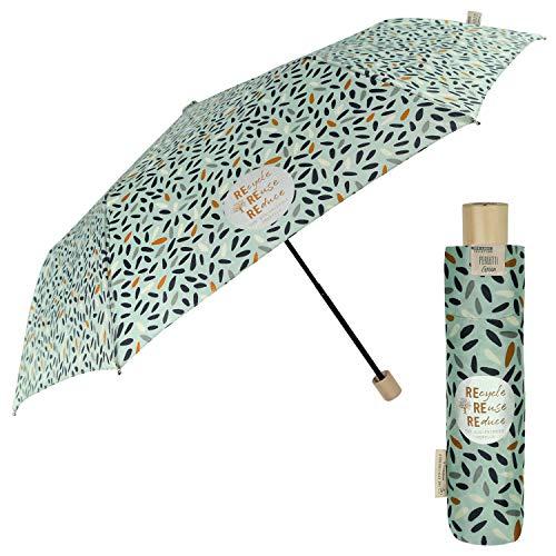 PERLETTI Green Paraguas Plegable de Viaje Antiviento Ecológico para Mujer - Mango de Madera Biodegradable con Apertura Manual - Paraguas Mini Compacto Ligero Eco Sostenible (Verde con Semillas)