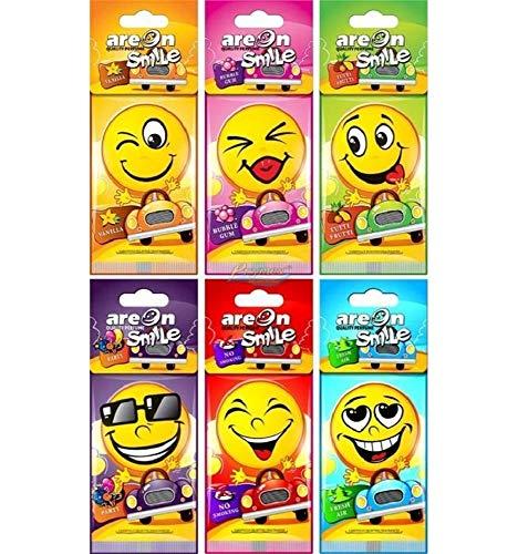 Areon - Ambientador para coche Smile con diseño de emoji (24 unidades