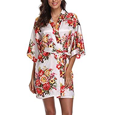 Laurel Snow Floral Satin Kimono Robes for Women Short Bridesmaid and Bride Robe for Wedding Party,White M