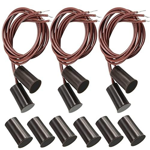 GUUZI 6 Juegos N.O. Interruptor de Lengüeta Magnético con Sensor de Contacto de Puerta de Ventana de Seguridad Empotrado Normalmente Abierto (Marrón)
