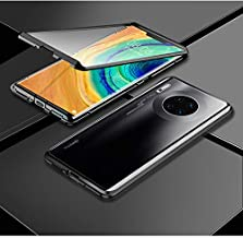 Mate30 Pro 5G Case Earworld Magnetic Adsorption Metal Frame 9H Tempered Glass Front and Back Cover 360 Degree Full Body Pr...