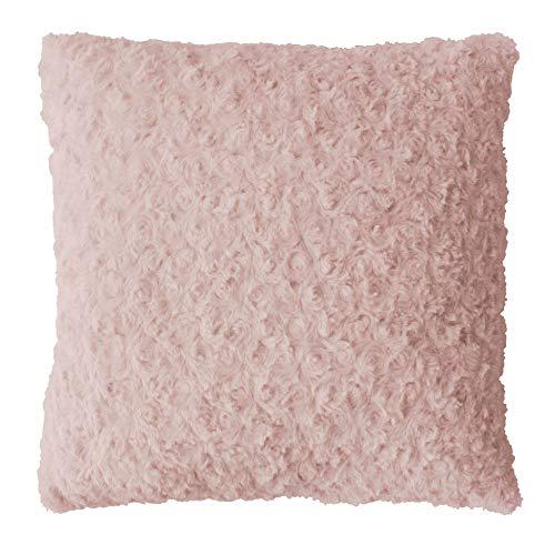 douceur d'intérieur coussin 40x40cm imitation fourrure himalaya rose
