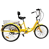 Areyourshop 7-Speed 24' Adult 3-Wheel Tricycle Trike Cruise Bike Bicycle with Basket Yellow