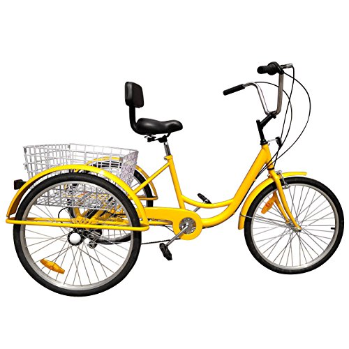 Areyourshop 24 Inch Adult Bicycle 6-Speed 3 Wheel Cruise Bike Tricycle Trike with Basket, Yellow