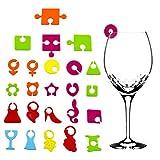 qipuneky, 24 Pezzi, Segnabicchieri, Segna Bicchiere, Segnabicchieri Silicone, Utilizzato per Contrassegnare I Bicchieri di Vino per Vari Cocktail Party, Banchetti E Riunioni di Famiglia (siliconico)