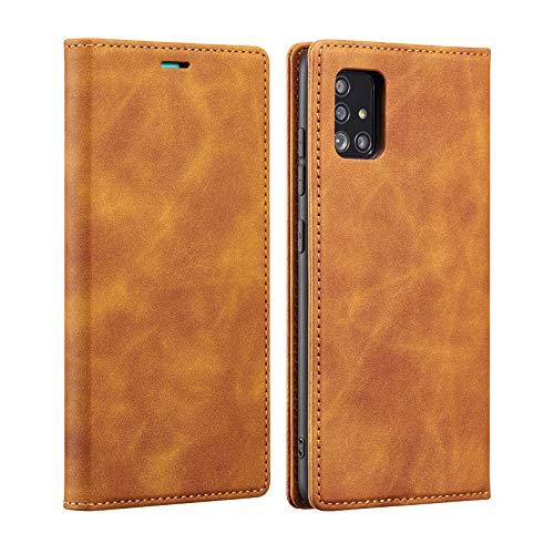 ZCDAYE Funda para Samsung Galaxy A72, Samsung Galaxy A72, funda tipo cartera, piel sintética de alta calidad, ranuras para tarjetas, suave TPU a prueba de golpes, para Samsung A72-marrón