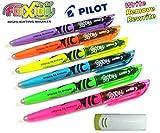 Pilot 4136S6 Textmarker FriXion Light, 6 Stück, pink/gelb/grün/blau/violett/orange mit Radierer